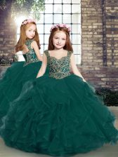 Floor Length Lace Up Little Girls Pageant Dress Peacock Green for Party and Sweet 16 and Wedding Party with Beading and Ruffles