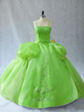High Quality Vestidos de Quinceanera Sweet 16 and Quinceanera with Appliques Straps Sleeveless Lace Up