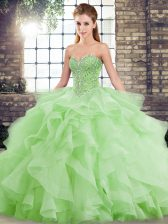 Fashionable Sleeveless Beading and Ruffles Lace Up Ball Gown Prom Dress with Brush Train