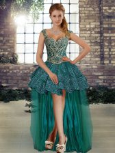 Enchanting Dark Green A-line Tulle Straps Sleeveless Beading and Lace High Low Lace Up Prom Dress