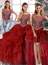 Dazzling Brush Train Three Pieces 15 Quinceanera Dress Wine Red Scoop Organza Sleeveless Zipper