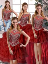 Clearance Wine Red Sleeveless Organza Brush Train Zipper Quinceanera Dress for Military Ball and Sweet 16 and Quinceanera