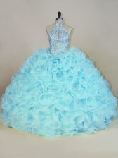 Aqua Blue Ball Gowns Halter Top Sleeveless Fabric With Rolling Flowers Brush Train Lace Up Beading and Ruffles Sweet 16 Dresses