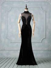 Decent Black Zipper Evening Dress Beading Sleeveless Brush Train
