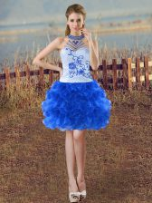Colorful Sleeveless Lace Up Mini Length Beading and Embroidery and Ruffles Prom Gown
