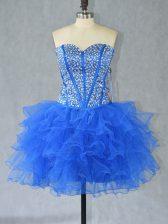 Blue Lace Up Homecoming Dress Beading and Ruffles Sleeveless Mini Length
