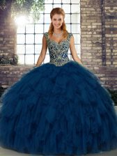 Gorgeous Organza Straps Sleeveless Lace Up Beading and Ruffles Quinceanera Gowns in Blue