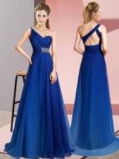 Chiffon One Shoulder Sleeveless Brush Train Criss Cross Beading Prom Gown in Blue