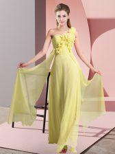 Modern Floor Length Empire Sleeveless Yellow Vestidos de Damas Lace Up