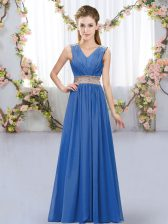 Blue Chiffon Lace Up V-neck Sleeveless Floor Length Quinceanera Dama Dress Beading and Belt