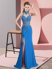 Fancy Blue Sleeveless Chiffon Backless Prom Evening Gown for Prom and Party and Military Ball