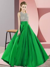 Green Dress for Prom Prom and Party with Beading Scoop Sleeveless Backless