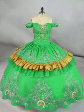 Fine Green Off The Shoulder Neckline Embroidery Quinceanera Dress Sleeveless Lace Up