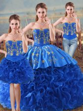 Wonderful Floor Length Royal Blue Quinceanera Gowns Fabric With Rolling Flowers Sleeveless Embroidery and Ruffles