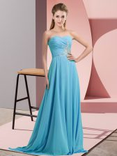 Aqua Blue Chiffon Lace Up Sleeveless Floor Length Beading
