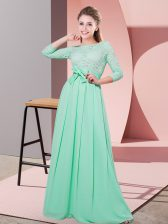 Apple Green Scoop Neckline Lace and Belt Quinceanera Court of Honor Dress 3 4 Length Sleeve Side Zipper