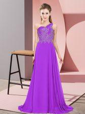 Modest Sleeveless Side Zipper Floor Length Beading Prom Evening Gown