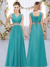 Simple Teal V-neck Lace Up Beading and Belt Dama Dress Sleeveless