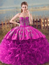 Fuchsia Lace Up Sweetheart Embroidery and Ruffles Sweet 16 Dress Fabric With Rolling Flowers Sleeveless Brush Train