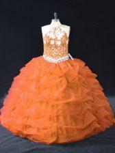 Orange Sleeveless Floor Length Pick Ups Backless 15th Birthday Dress