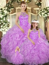 Lilac Tulle Lace Up Quinceanera Gown Sleeveless Floor Length Beading and Ruffles