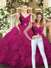 Fashion Floor Length Two Pieces Sleeveless Fuchsia Sweet 16 Dresses Backless
