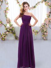 Custom Design Sleeveless Chiffon Floor Length Zipper Dama Dress in Dark Purple with Ruching