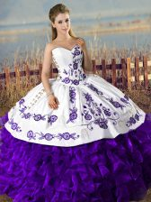 Floor Length White And Purple Quince Ball Gowns Satin and Organza Sleeveless Embroidery and Ruffles