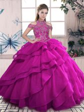 Fuchsia Lace Up High-neck Beading and Ruffled Layers Quinceanera Dress Organza Sleeveless