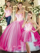 Flare Floor Length Lace Up Sweet 16 Quinceanera Dress Fuchsia for Sweet 16 and Quinceanera with Beading