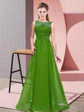 Green Empire Scoop Sleeveless Chiffon Floor Length Zipper Beading and Appliques Quinceanera Dama Dress
