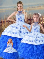 Unique Blue And White Organza Lace Up Halter Top Sleeveless Floor Length Sweet 16 Dresses Court Train Embroidery and Ruffles