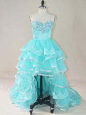 Noble Aqua Blue Sleeveless Beading and Lace and Ruffled Layers High Low Evening Dress