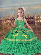 Beading and Embroidery and Ruffled Layers Kids Pageant Dress Turquoise Lace Up Sleeveless Floor Length