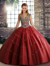 Low Price Wine Red Tulle Lace Up Straps Sleeveless Floor Length Sweet 16 Dress Beading and Appliques