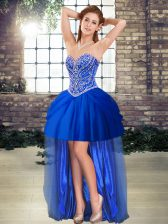 Custom Made Tulle Sleeveless High Low Prom Gown and Beading