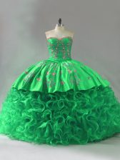 Shining Green Fabric With Rolling Flowers Lace Up 15th Birthday Dress Sleeveless Embroidery and Ruffles
