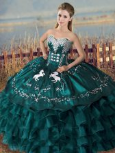 Sleeveless Satin and Organza Floor Length Lace Up Quinceanera Gowns in Peacock Green with Embroidery and Ruffles