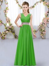 Floor Length Empire Sleeveless Green Dama Dress for Quinceanera Lace Up
