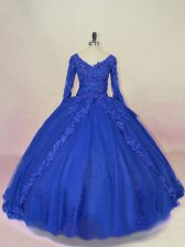 New Style Ball Gowns Quinceanera Dress Royal Blue V-neck Tulle Long Sleeves Lace Up