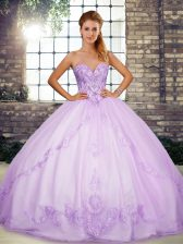 Floor Length Lace Up Quinceanera Dresses Lavender for Military Ball and Sweet 16 and Quinceanera with Beading and Embroidery