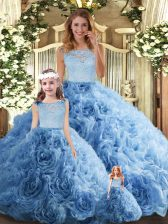 Beauteous Scoop Sleeveless Sweet 16 Dress Floor Length Lace Baby Blue Fabric With Rolling Flowers