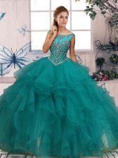 Deluxe Scoop Sleeveless Zipper Quinceanera Gown Turquoise Organza