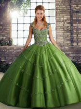 Gorgeous Green Sleeveless Beading and Appliques Floor Length 15 Quinceanera Dress