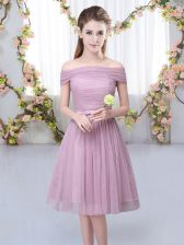 Knee Length Lace Up Quinceanera Court Dresses Pink for Wedding Party with Belt