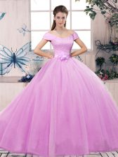 High End Lace and Hand Made Flower 15th Birthday Dress Lilac Lace Up Short Sleeves Floor Length