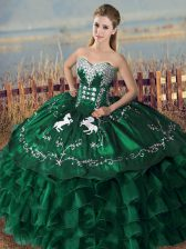 Stunning Green Sleeveless Organza Lace Up Quinceanera Gowns for Sweet 16 and Quinceanera