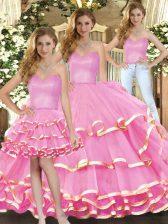 Custom Fit Rose Pink Sleeveless Ruffled Layers Floor Length Sweet 16 Dress