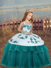 Sleeveless Embroidery Lace Up Girls Pageant Dresses