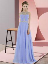 Beading Prom Evening Gown Lavender Zipper Sleeveless Floor Length